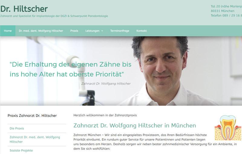 Internetseite Zahnarzt Dr. Hiltscher